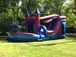 Castle Combo Enclosed High Slide (with Basketball hoop inside) 11x34x15 $280  ($340 with pool)