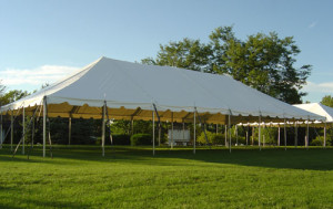"30x40 Pole Tent Package (11) 60"" Round Tables 88 White Chairs (2) 8' Banquet Tables $725.00"