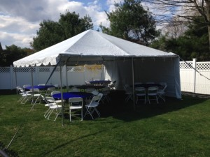 "20x20 Pole Tent with 5 60"" Round Tables and 40 Chairs $430"