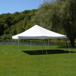 20x20 Pole Tent Package 4 Round Tables, 32 Chairs and 1 8' Banquet Table $375